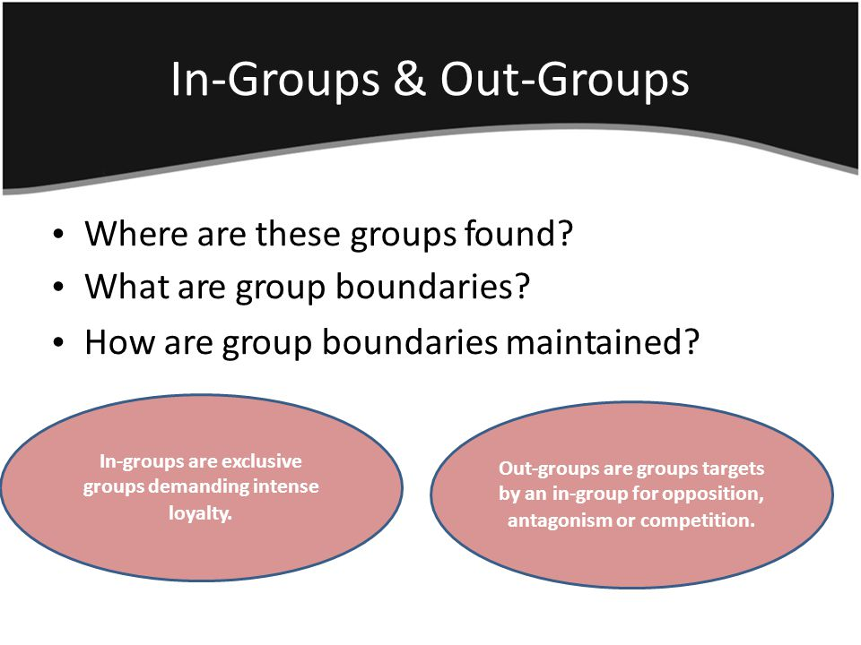 In-Groups & Out Groups