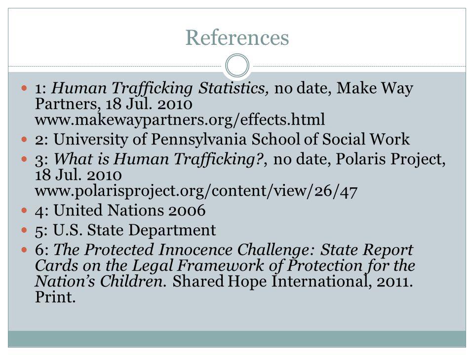 References 1: Human Trafficking Statistics, no date, Make Way Partners, 18 Jul.