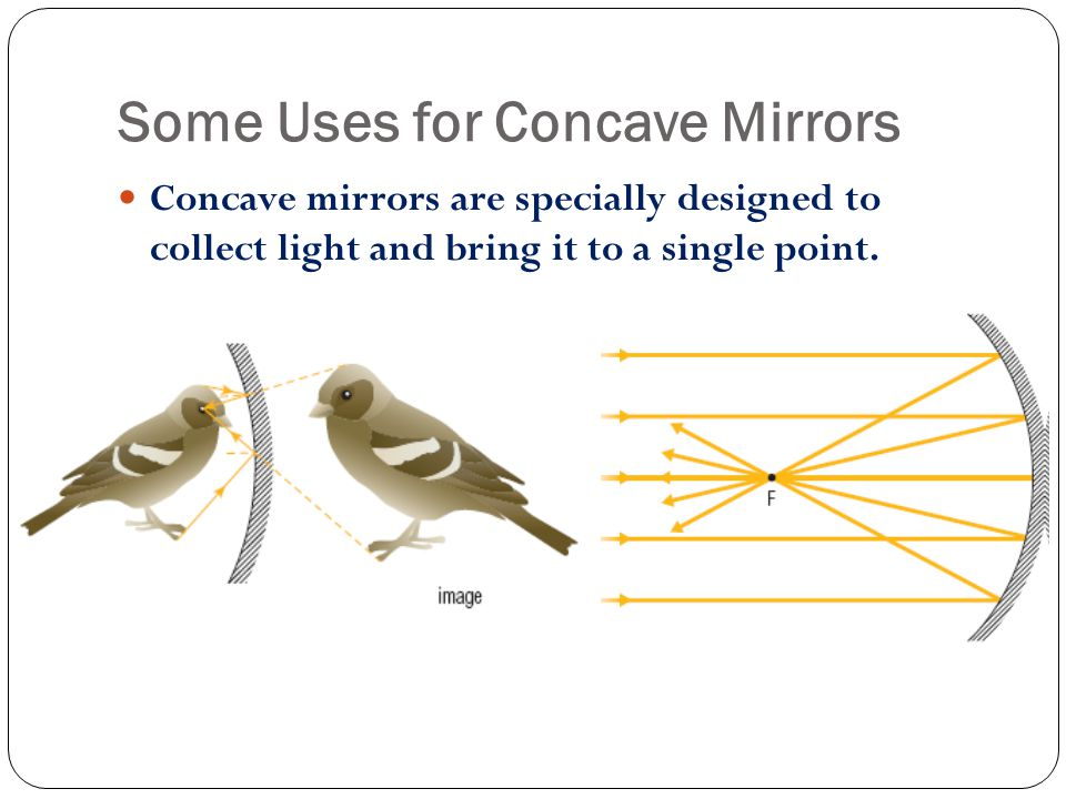 Some Uses for Concave Mirrors Concave mirrors are specially designed to collect light and bring it to a single point.