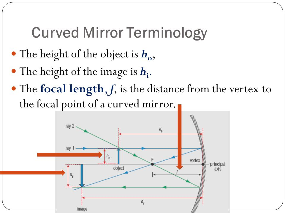Curved Mirror Terminology The height of the object is h o, The height of the image is h i.