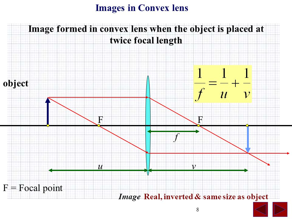 8 Image formed in convex lens when the object is placed at twice focal length F = Focal point object Image Real, inverted & same size as object Images in Convex lens vu f FF