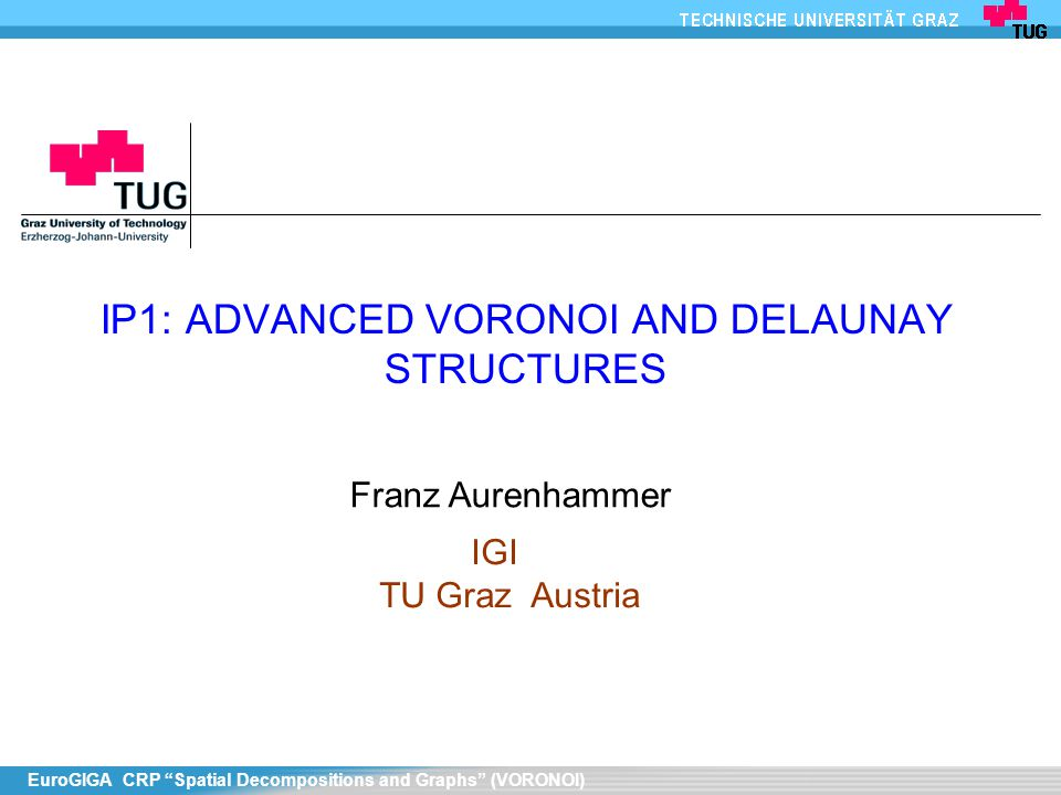 EuroGIGA CRP Spatial Decompositions and Graphs (VORONOI) IP1: ADVANCED VORONOI AND DELAUNAY STRUCTURES Franz Aurenhammer IGI TU Graz Austria