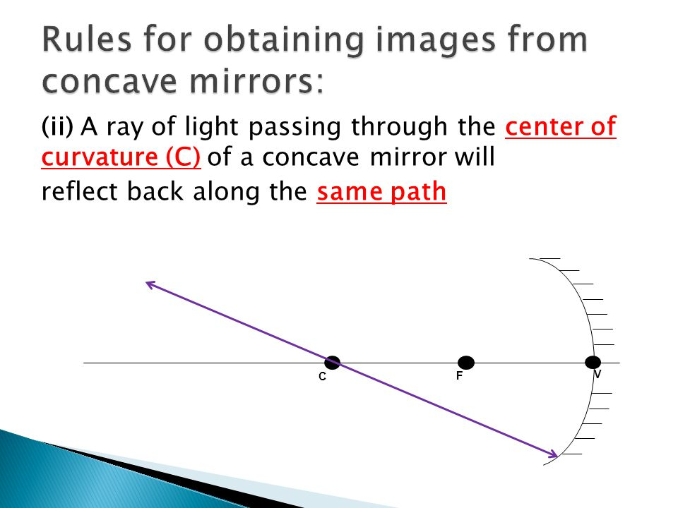 (ii) A ray of light passing through the center of curvature (C) of a concave mirror will reflect back along the same path V F C