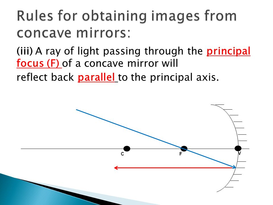 (iii) A ray of light passing through the principal focus (F) of a concave mirror will reflect back parallel to the principal axis.
