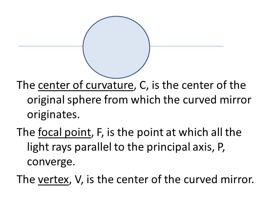 The center of curvature, C, is the center of the original sphere from which the curved mirror originates.