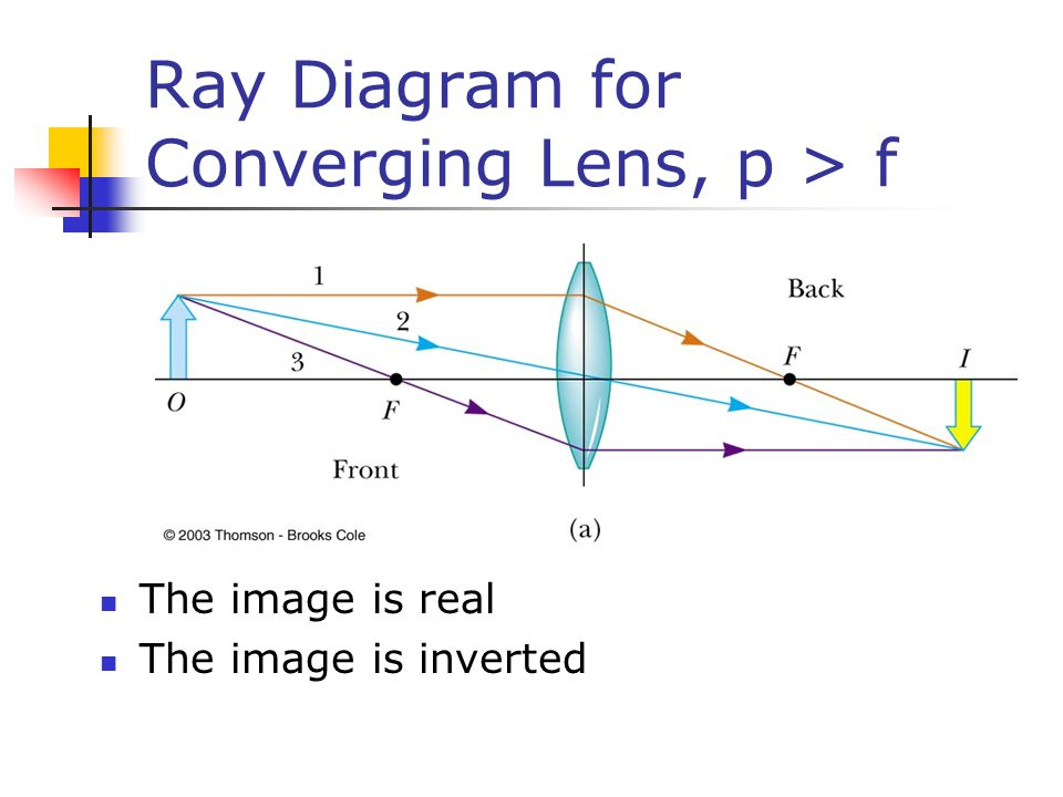 Ray Diagram for Converging Lens, p > f The image is real The image is inverted