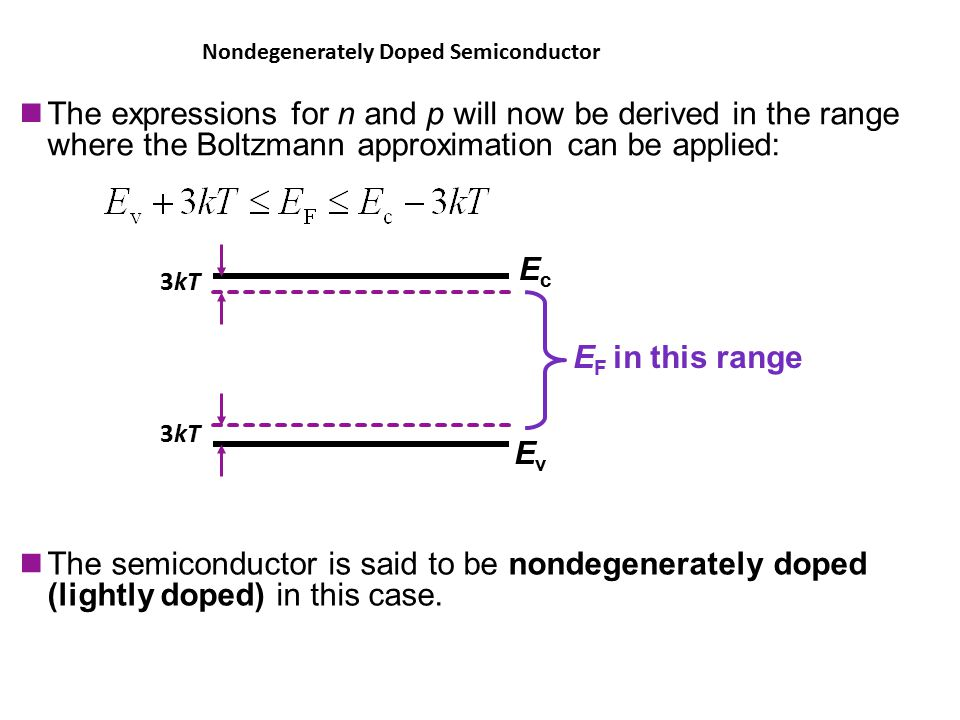 The expressions for n and p will now be derived in the range where the Boltzmann approximation can be applied: The semiconductor is said to be nondegenerately doped (lightly doped) in this case.