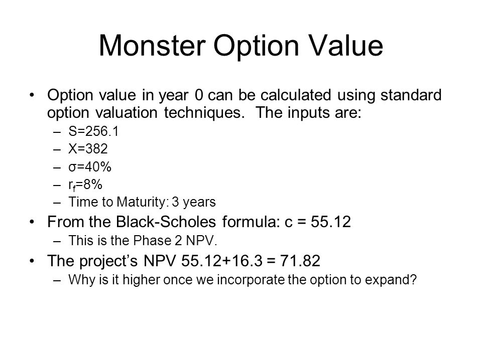 Monster Option Value Option value in year 0 can be calculated using standard option valuation techniques.