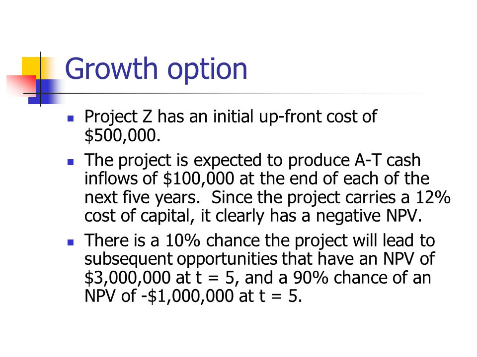 Growth option Project Z has an initial up-front cost of $500,000.