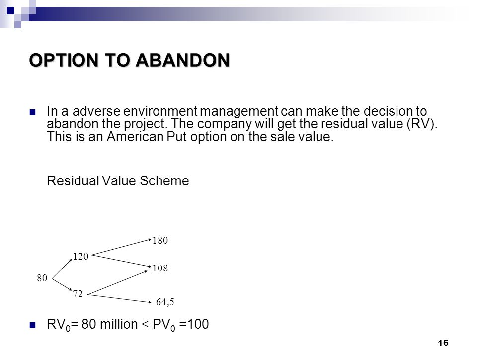 16 OPTION TO ABANDON In a adverse environment management can make the decision to abandon the project.