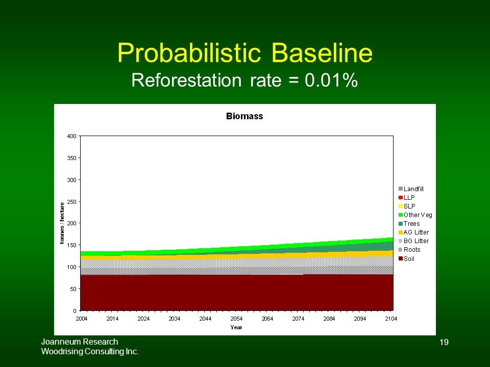 Joanneum Research Woodrising Consulting Inc. 19 Probabilistic Baseline Reforestation rate = 0.01%