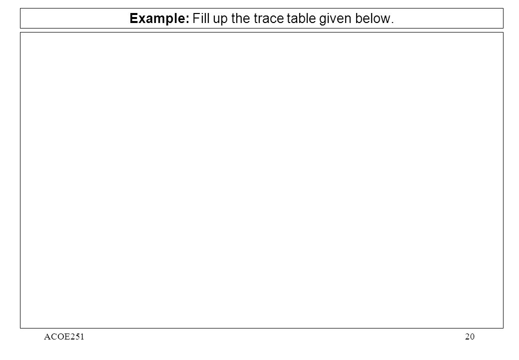 ACOE25120 Example: Fill up the trace table given below.