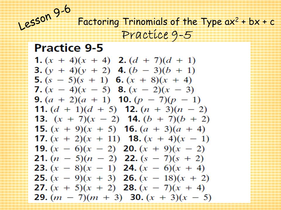 Worksheets Factoring Trinomials Of The Form Ax2 Bx C Worksheet Answers factoring trinomials ax2 bx c worksheet quadratic elleapp