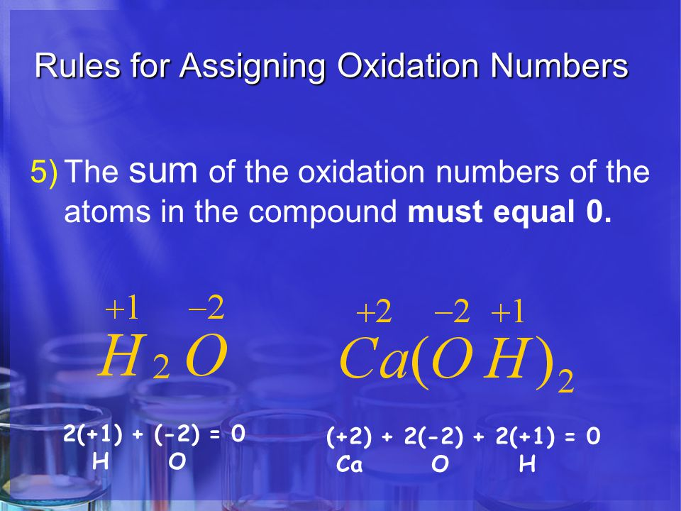 Rules for Assigning Oxidation Numbers 5)The sum of the oxidation numbers of the atoms in the compound must equal 0.
