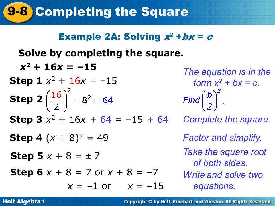 Algebra 2 Completing The Square Worksheet – Completing the Square Worksheet