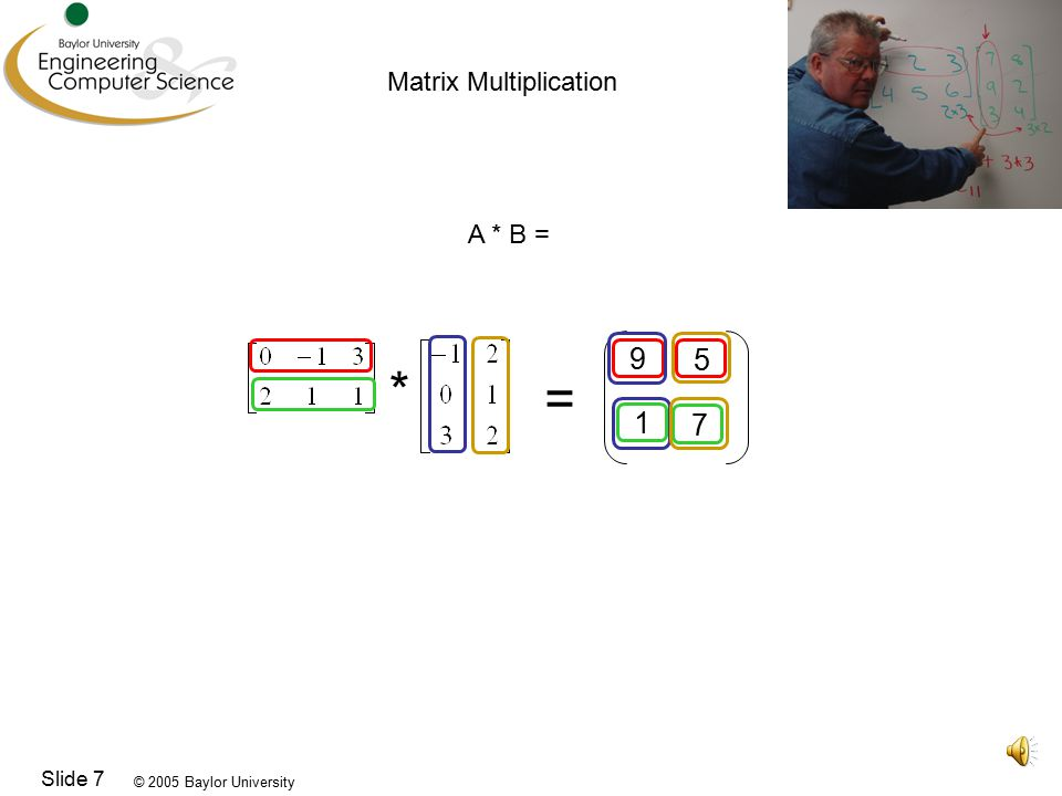 © 2005 Baylor University Slide 7 * = Matrix Multiplication A * B =