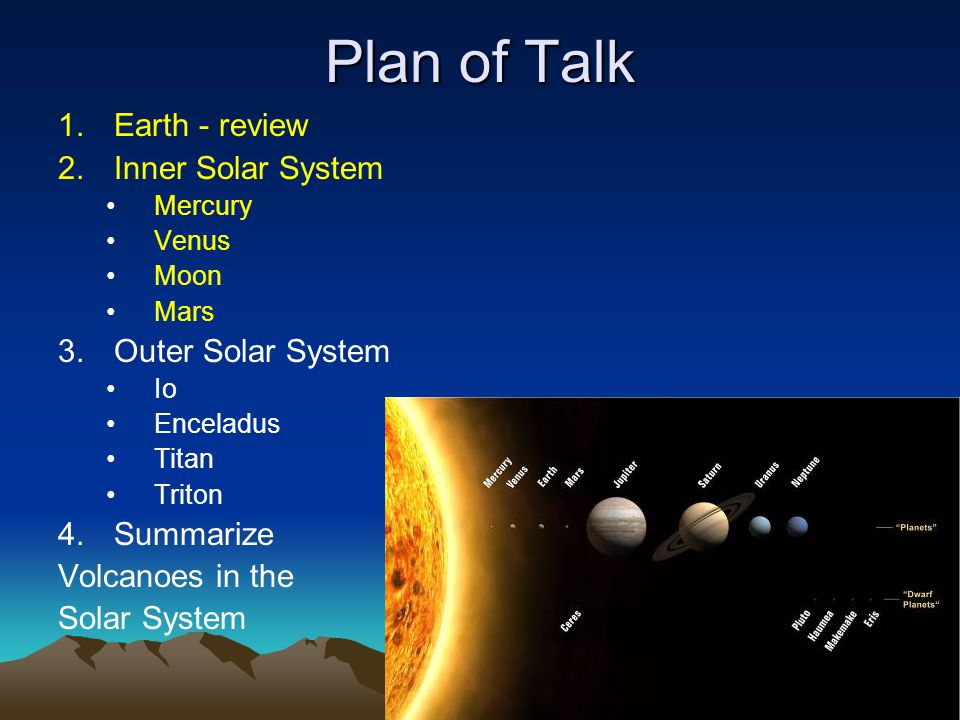 Plan of Talk 1.Earth - review 2.Inner Solar System Mercury Venus Moon Mars 3.Outer Solar System Io Enceladus Titan Triton 4.Summarize Volcanoes in the Solar System