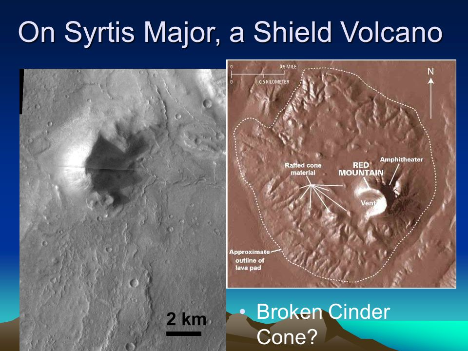 Broken Cinder Cone On Syrtis Major, a Shield Volcano