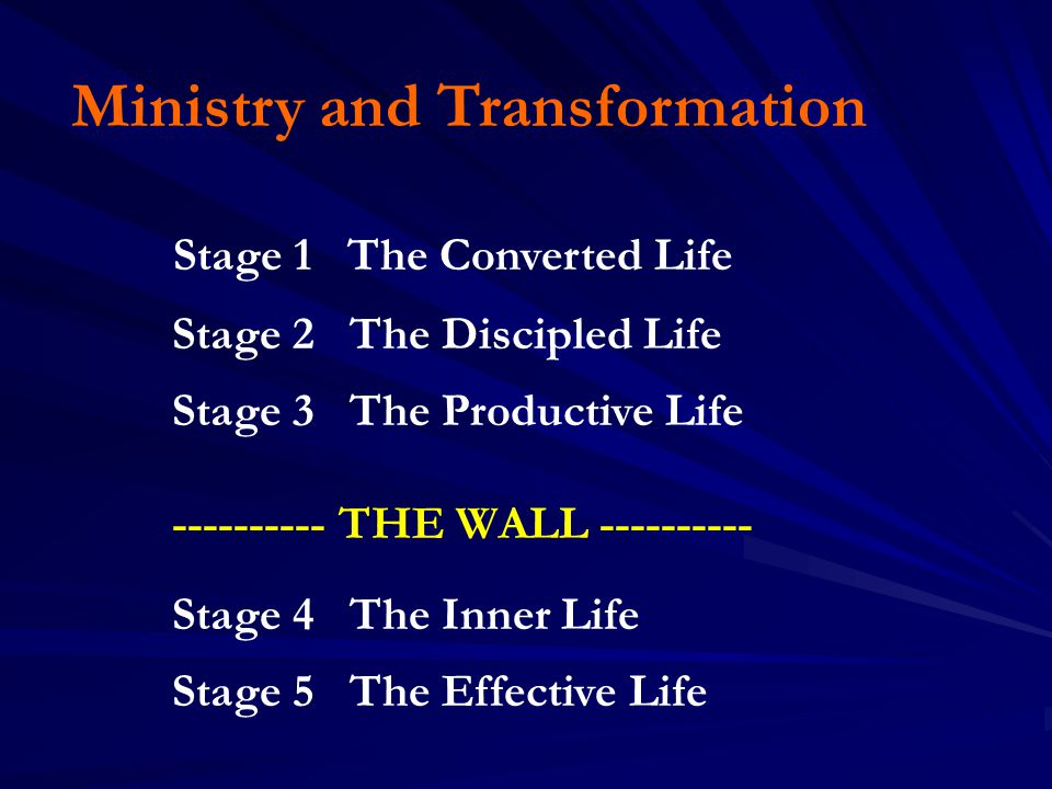 Ministry and Transformation Stage 1 The Converted Life Stage 2 The Discipled Life Stage 3 The Productive Life THE WALL Stage 4 The Inner Life Stage 5 The Effective Life