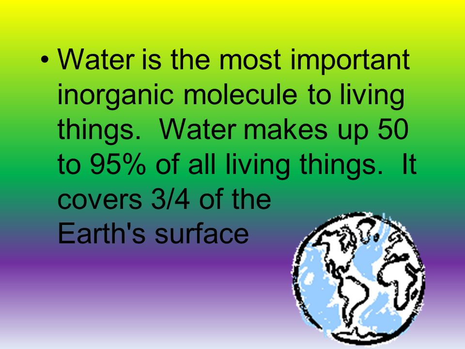 Water is the most important inorganic molecule to living things.