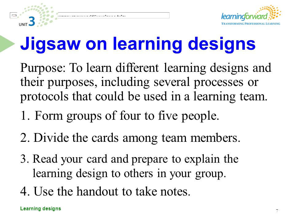 Learning designs Jigsaw on learning designs Purpose: To learn different learning designs and their purposes, including several processes or protocols that could be used in a learning team.