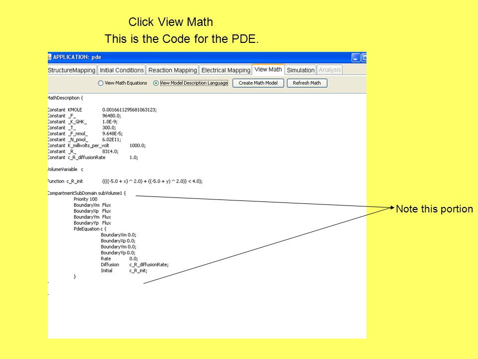 This is the Code for the PDE. Click View Math Note this portion