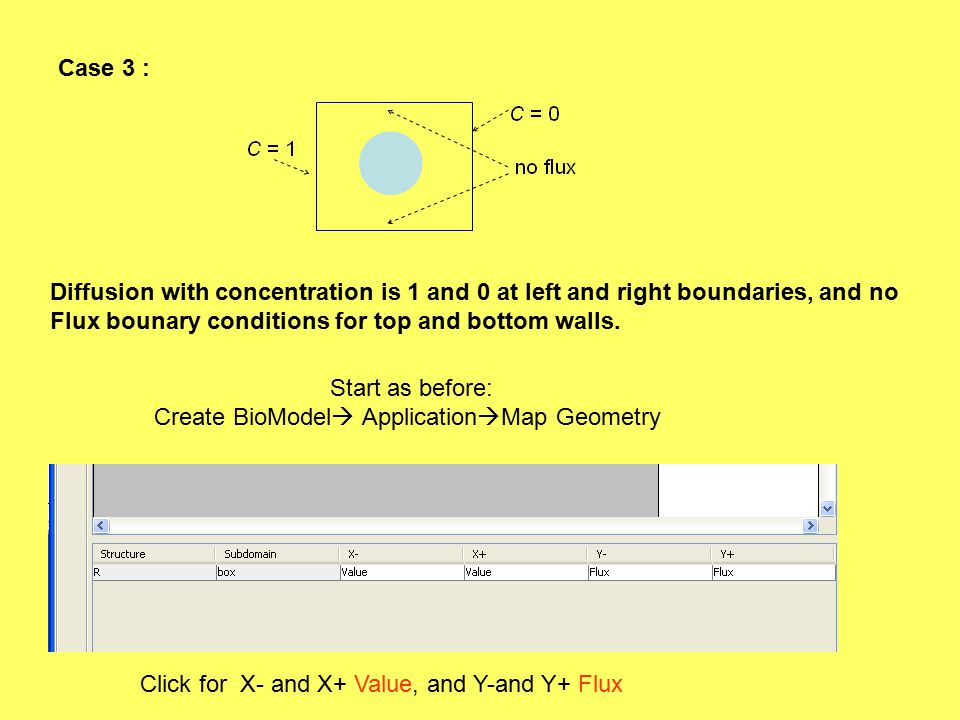 Case 3 : Diffusion with concentration is 1 and 0 at left and right boundaries, and no Flux bounary conditions for top and bottom walls.