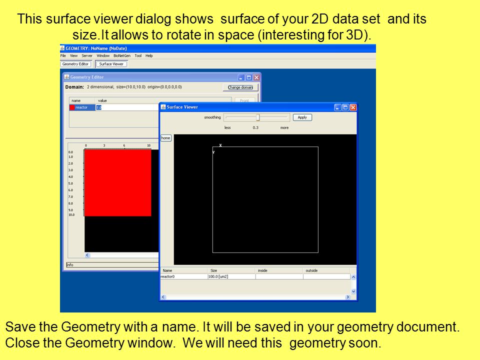 This surface viewer dialog shows surface of your 2D data set and its size.It allows to rotate in space (interesting for 3D).