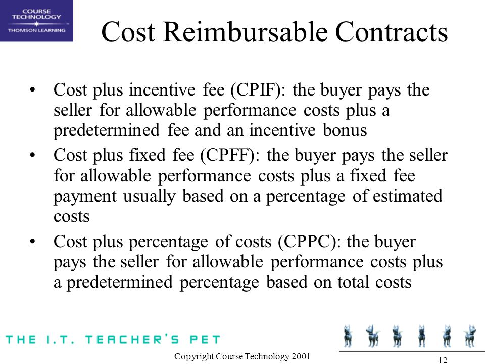 Copyright Course Technology Cost Reimbursable Contracts Cost plus incentive fee (CPIF): the buyer pays the seller for allowable performance costs plus a predetermined fee and an incentive bonus Cost plus fixed fee (CPFF): the buyer pays the seller for allowable performance costs plus a fixed fee payment usually based on a percentage of estimated costs Cost plus percentage of costs (CPPC): the buyer pays the seller for allowable performance costs plus a predetermined percentage based on total costs