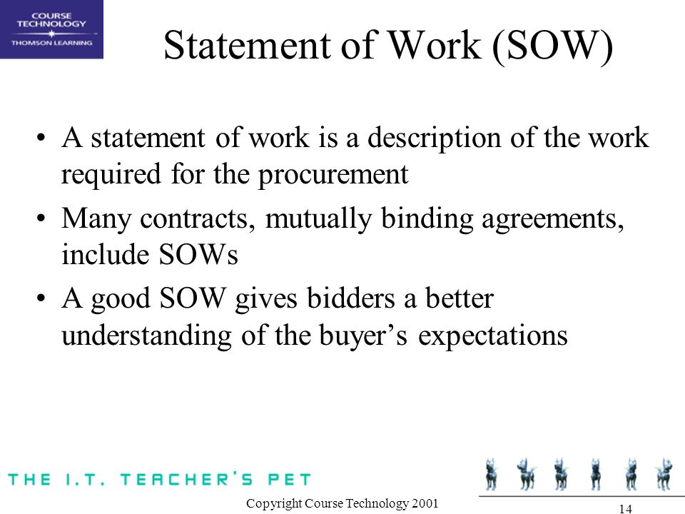 Copyright Course Technology Statement of Work (SOW) A statement of work is a description of the work required for the procurement Many contracts, mutually binding agreements, include SOWs A good SOW gives bidders a better understanding of the buyer's expectations