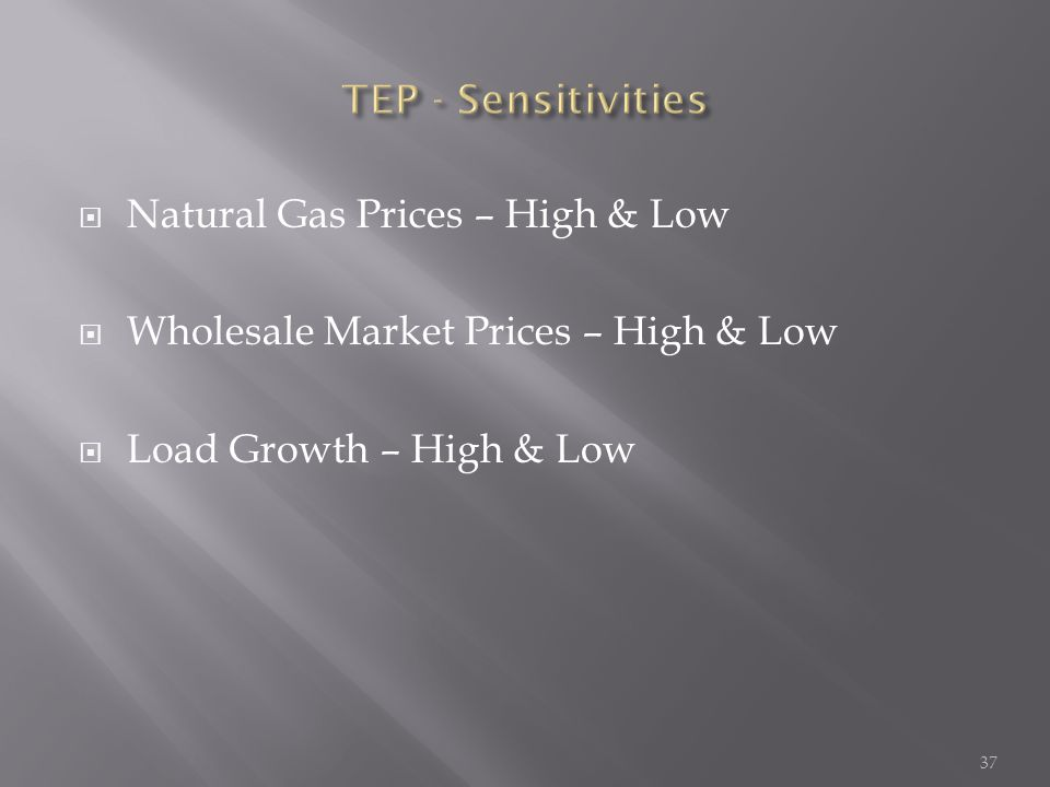  Natural Gas Prices – High & Low  Wholesale Market Prices – High & Low  Load Growth – High & Low 37