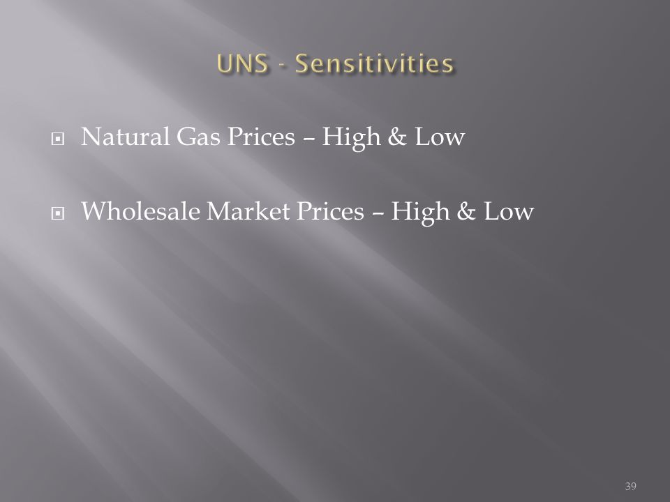  Natural Gas Prices – High & Low  Wholesale Market Prices – High & Low 39