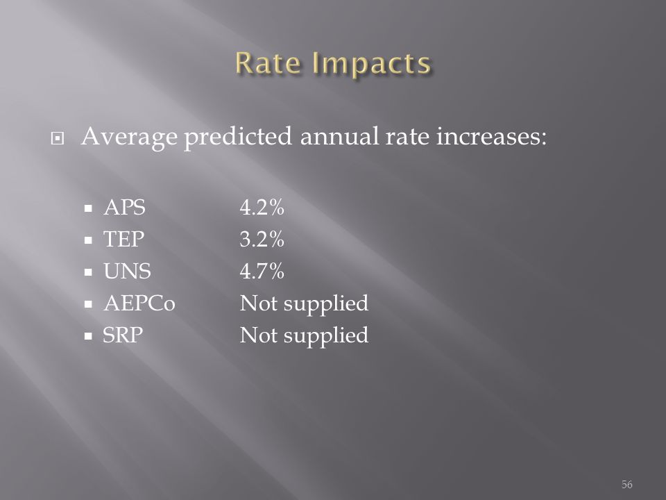  Average predicted annual rate increases:  APS4.2%  TEP3.2%  UNS4.7%  AEPCoNot supplied  SRPNot supplied 56