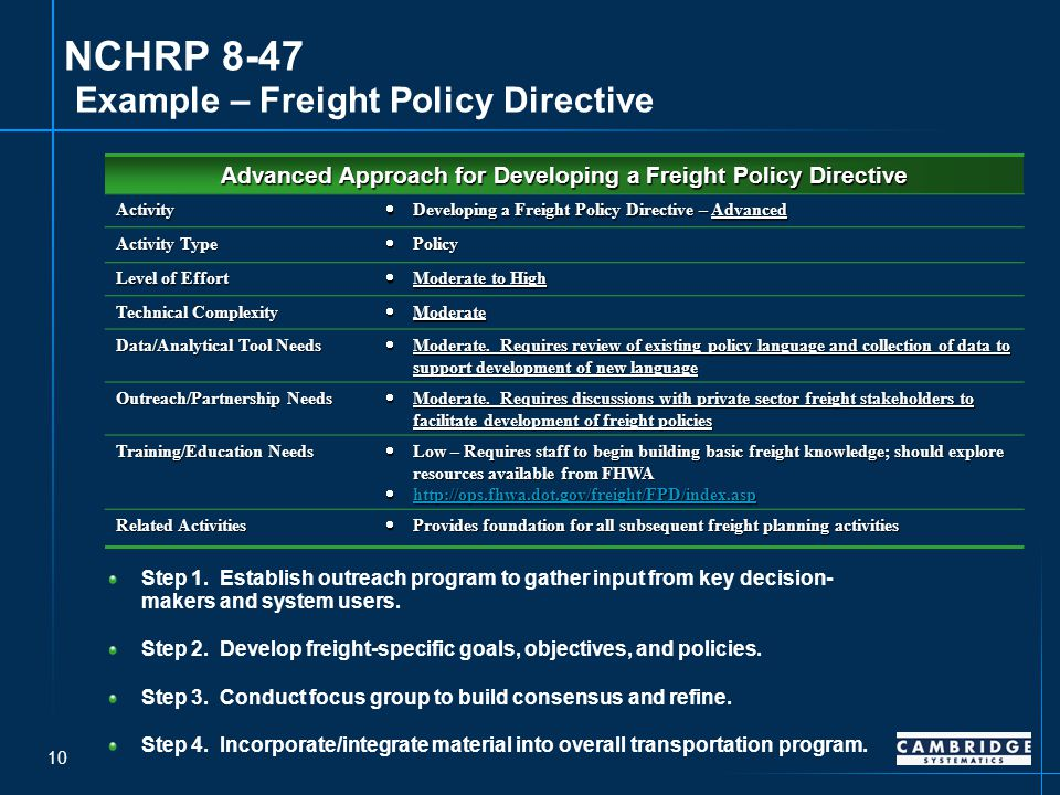 10 NCHRP 8-47 Example – Freight Policy Directive Step 1.