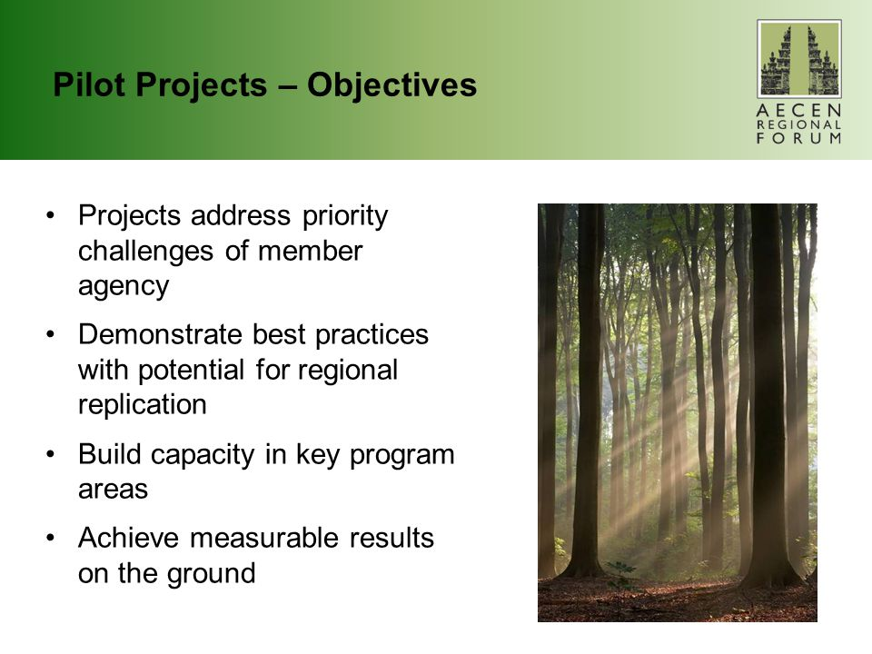 Pilot Projects – Objectives Projects address priority challenges of member agency Demonstrate best practices with potential for regional replication Build capacity in key program areas Achieve measurable results on the ground