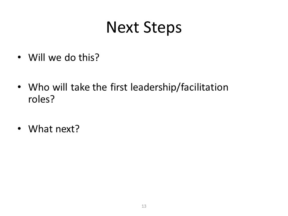 Next Steps Will we do this Who will take the first leadership/facilitation roles What next 13