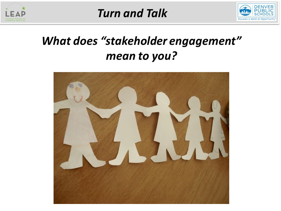 Turn and Talk What does stakeholder engagement mean to you