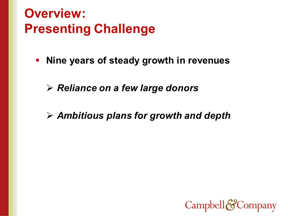Overview: Presenting Challenge  Nine years of steady growth in revenues  Reliance on a few large donors  Ambitious plans for growth and depth