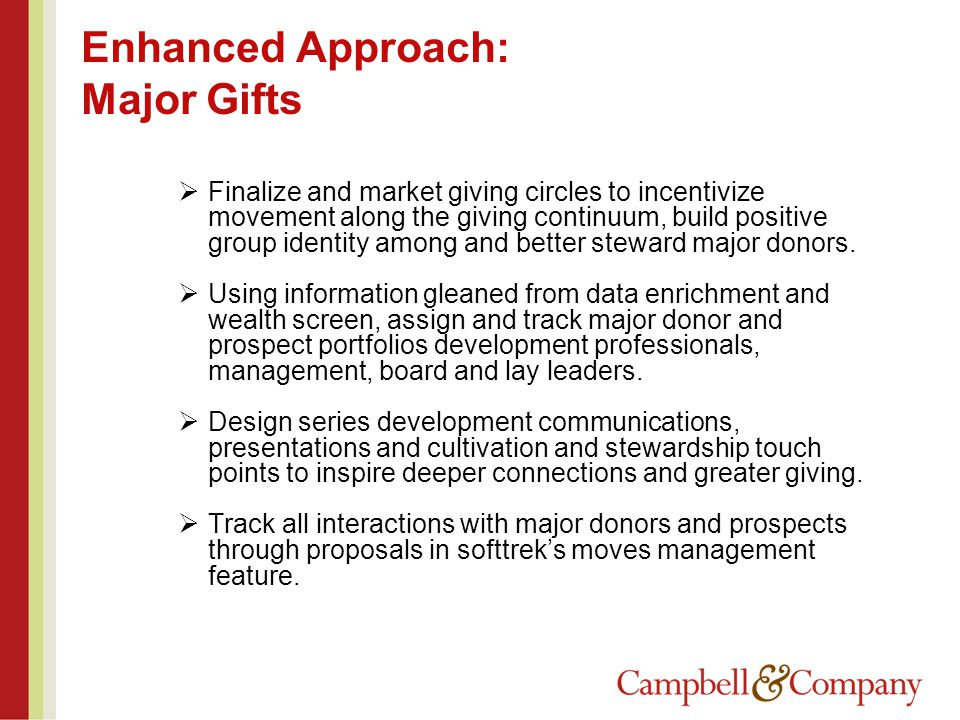 Enhanced Approach: Major Gifts  Finalize and market giving circles to incentivize movement along the giving continuum, build positive group identity among and better steward major donors.