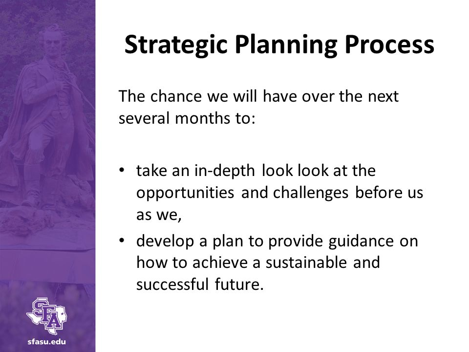 Strategic Planning Process The chance we will have over the next several months to: take an in-depth look look at the opportunities and challenges before us as we, develop a plan to provide guidance on how to achieve a sustainable and successful future.