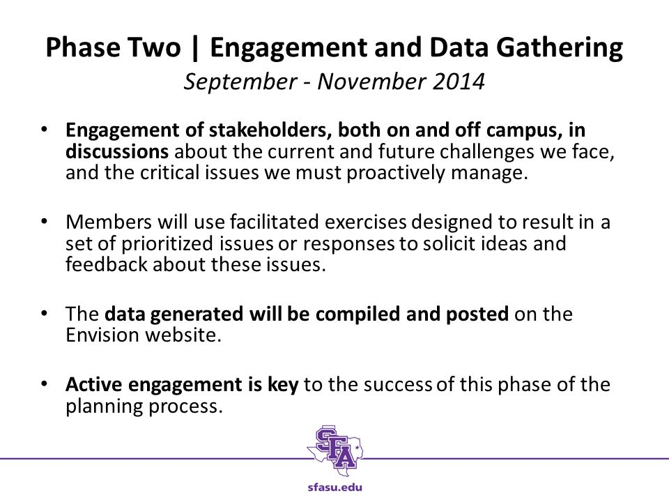 Phase Two | Engagement and Data Gathering September - November 2014 Engagement of stakeholders, both on and off campus, in discussions about the current and future challenges we face, and the critical issues we must proactively manage.