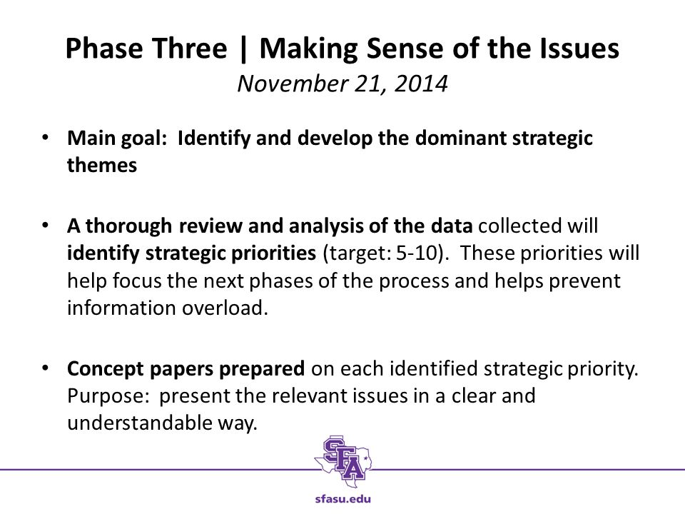 Phase Three | Making Sense of the Issues November 21, 2014 Main goal: Identify and develop the dominant strategic themes A thorough review and analysis of the data collected will identify strategic priorities (target: 5-10).