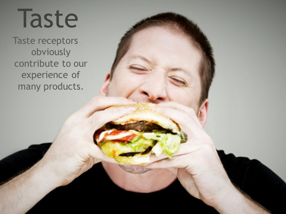 Taste Taste receptors obviously contribute to our experience of many products.