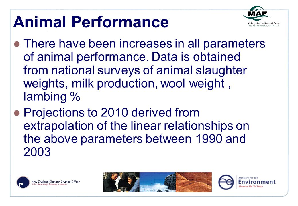 Animal Performance There have been increases in all parameters of animal performance.