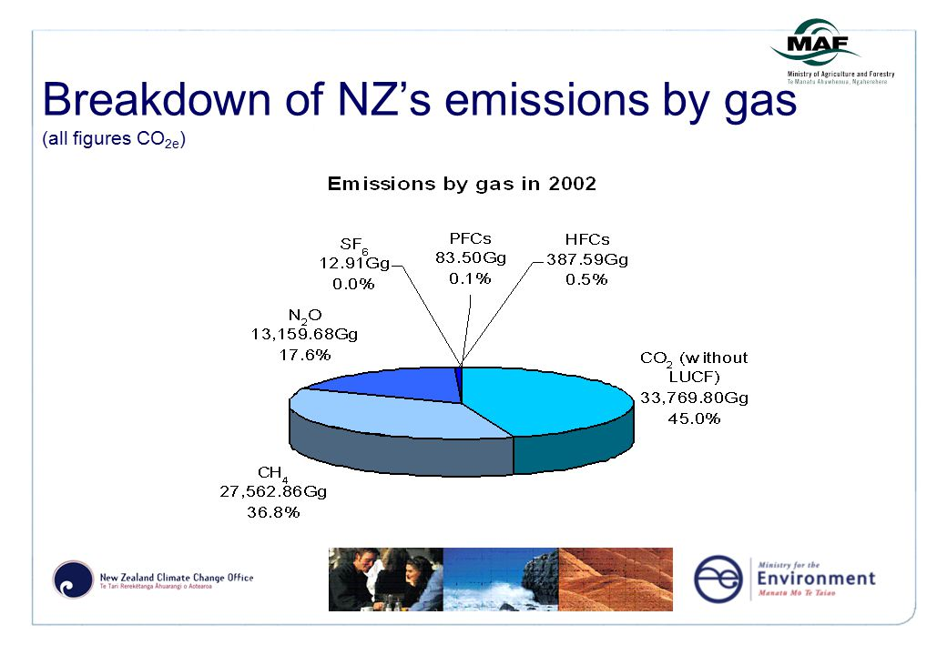 Breakdown of NZ's emissions by gas (all figures CO 2e )
