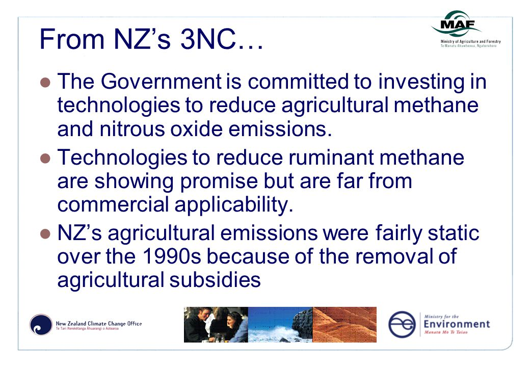 From NZ's 3NC… The Government is committed to investing in technologies to reduce agricultural methane and nitrous oxide emissions.