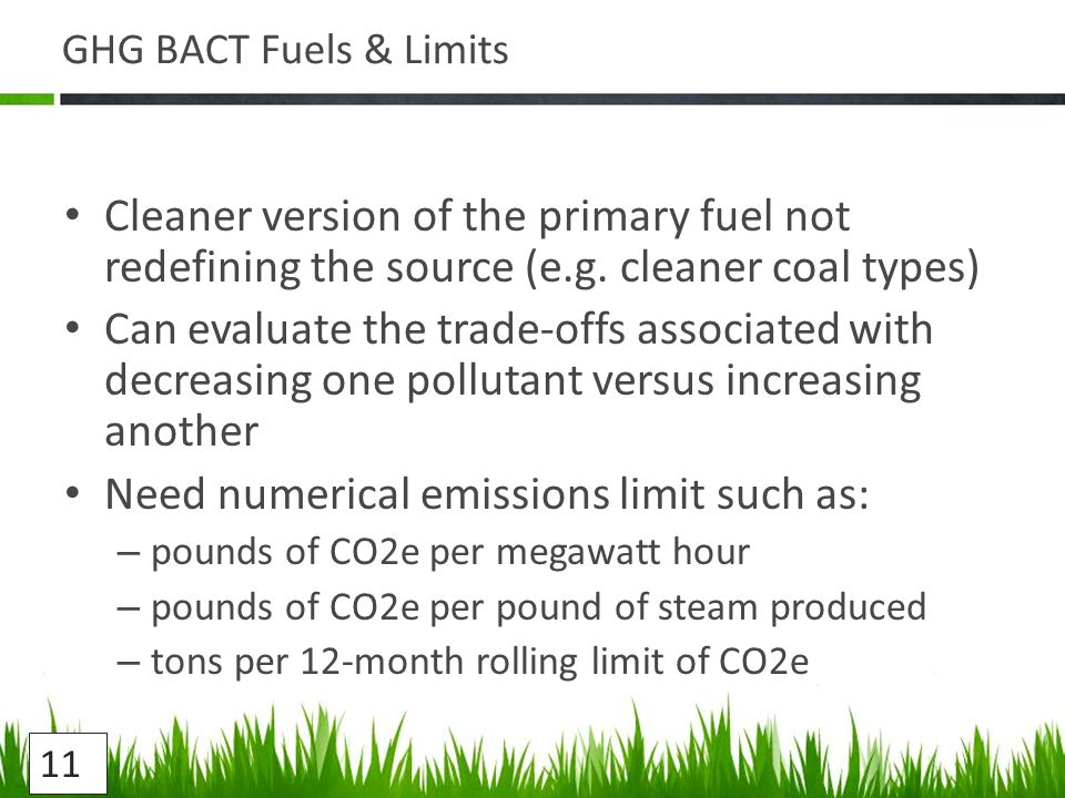 GHG BACT Fuels & Limits Cleaner version of the primary fuel not redefining the source (e.g.