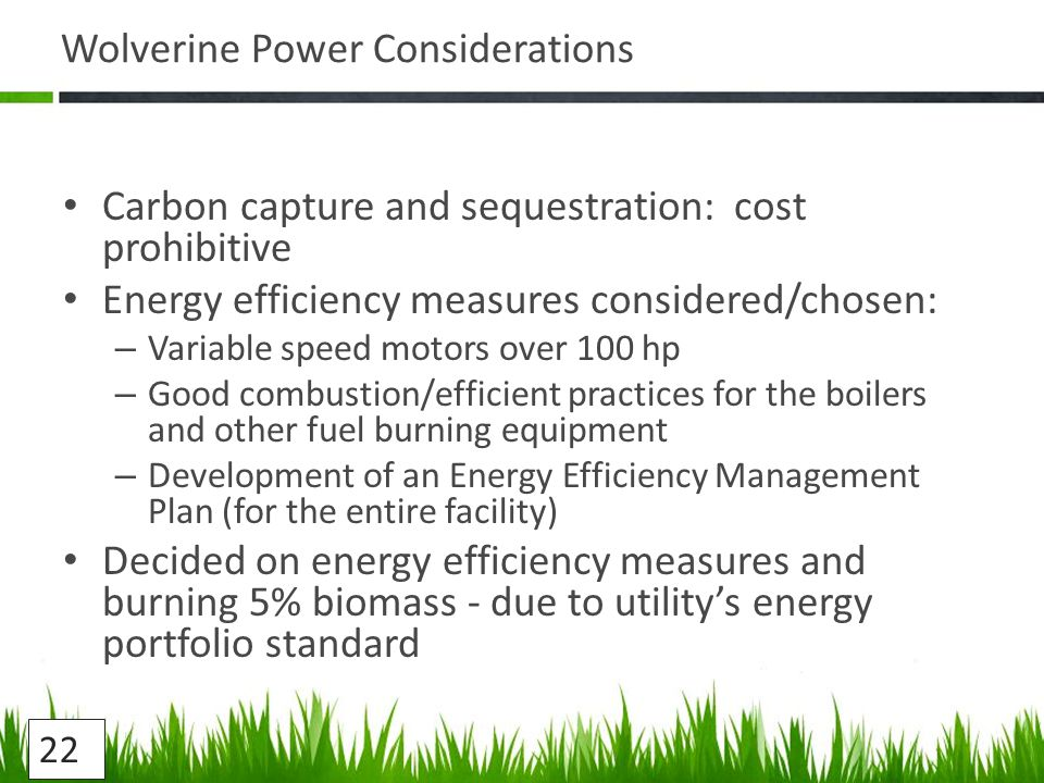 Wolverine Power Considerations Carbon capture and sequestration: cost prohibitive Energy efficiency measures considered/chosen: – Variable speed motors over 100 hp – Good combustion/efficient practices for the boilers and other fuel burning equipment – Development of an Energy Efficiency Management Plan (for the entire facility) Decided on energy efficiency measures and burning 5% biomass - due to utility's energy portfolio standard 22