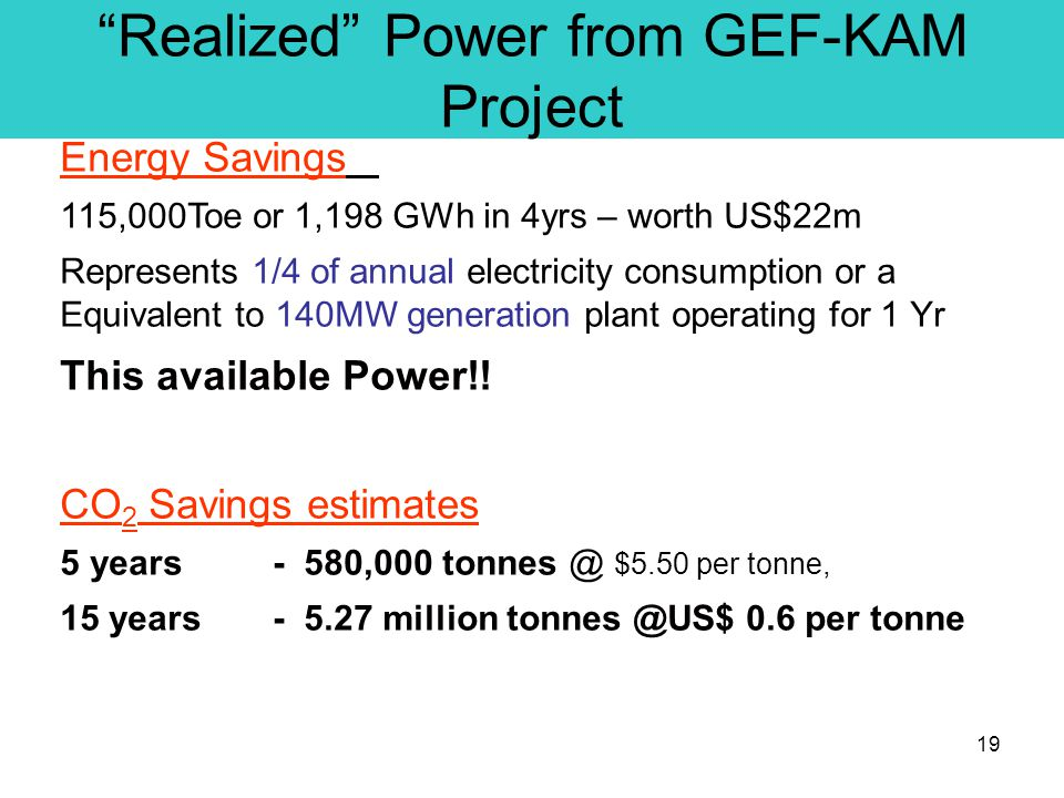 19 Realized Power from GEF-KAM Project Energy Savings 115,000Toe or 1,198 GWh in 4yrs – worth US$22m Represents 1/4 of annual electricity consumption or a Equivalent to 140MW generation plant operating for 1 Yr This available Power!.