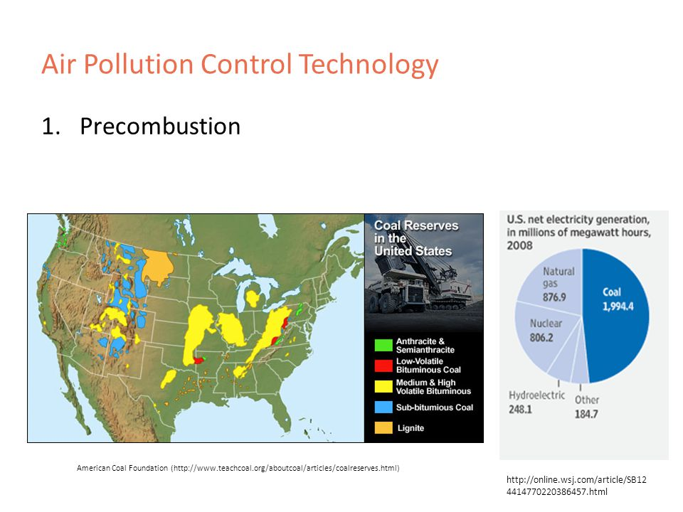 Air Pollution Control Technology 1.Precombustion American Coal Foundation ( html